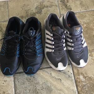 Sz 10 Nike Air Shocks 2 Pairs White Blue